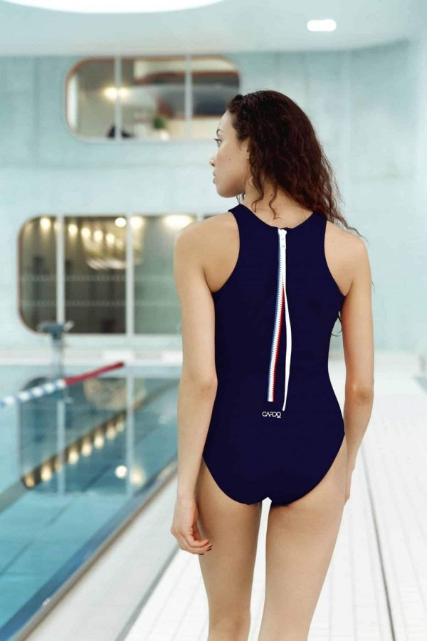 Maillot de bain femme bleu marine et blanc - CARDO Paris - 3