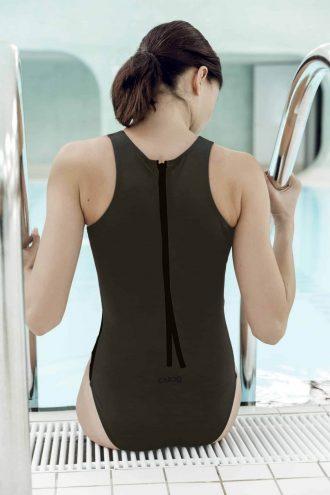 Maillots de bain CARDODIVE ganse kaki noir CARDO Paris piscine swimwear joli élégant confortable français