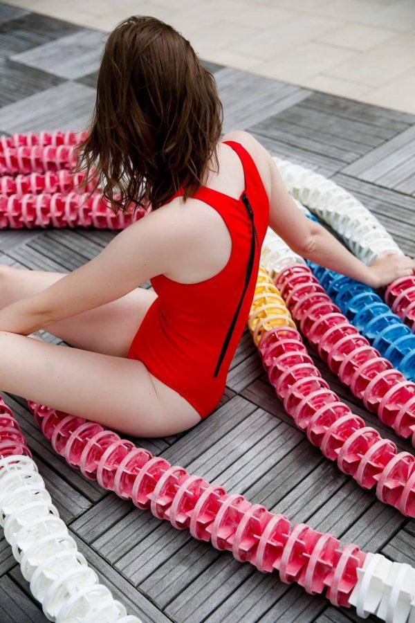 Maillot de bain femme zippé rouge et noir - CARDO Paris - 1