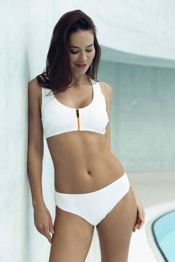 Maillot de bain CARDOMINI blanc zip orange CARDO Paris piscine swimwear joli élégant confortable français