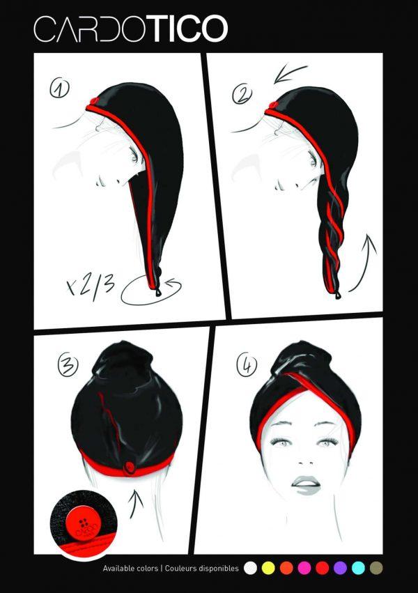 CARDOTICO Serviette cheveux eponge noire ganse blanche CARDO Paris piscine swimwear joli élégant confortable français tuto