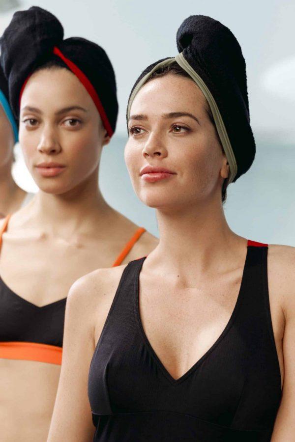 CARDOTICO Serviette cheveux eponge noire ganse kaki CARDO Paris piscine swimwear joli élégant confortable français