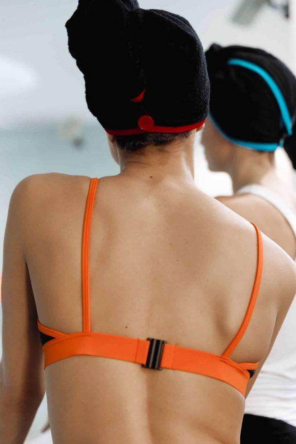 CARDOTICO Serviette cheveux eponge noire rouge CARDO Paris piscine swimwear joli élégant confortable français