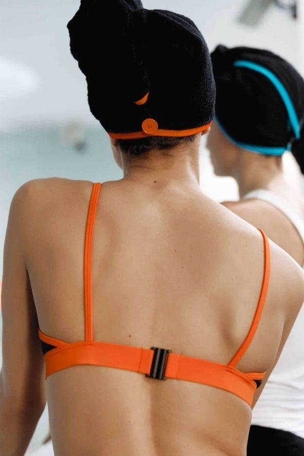 CARDOTICO Serviette cheveux eponge noire orange CARDO Paris piscine swimwear joli élégant confortable français