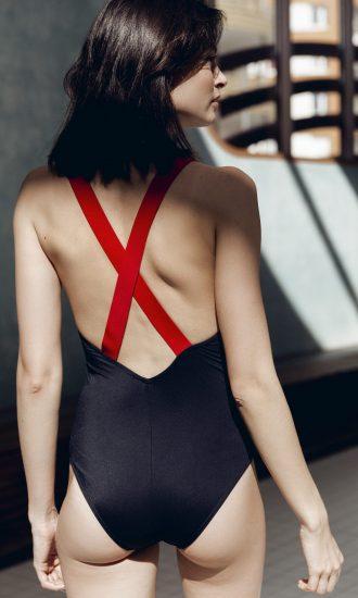 Maillot de bain femme retro croisé dans le dos noir - CARDO Paris - Le 50' - 2