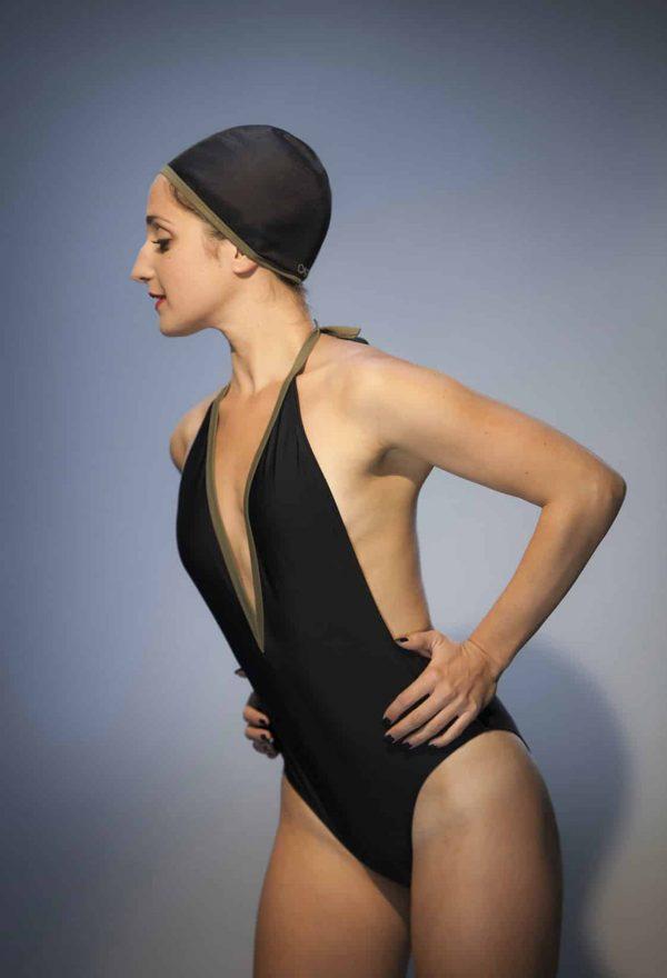 Maillot de bain NEVADA noir ganse kaki CARDO Paris piscine swimwear joli élégant confortable français