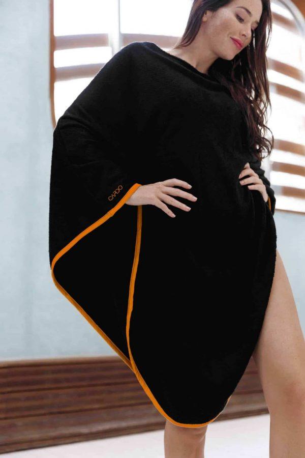 Poncho eponge bamboo orange CARDO Paris piscine swimwear joli élégant confortable français absorbant