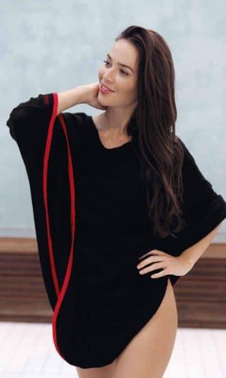Poncho eponge bamboo rouge CARDO Paris piscine swimwear joli élégant confortable français absorbant