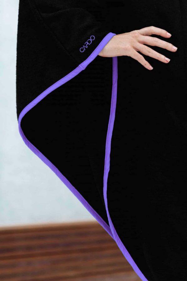 Poncho eponge bamboo violet CARDO Paris piscine swimwear joli élégant confortable français absorbant