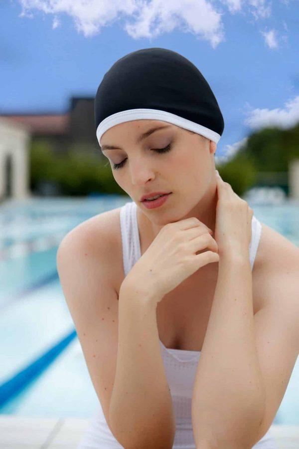 Bonnet de bain Blanc Ben CARDO Paris piscine maillot de bain déperlant joli élégant confortable français