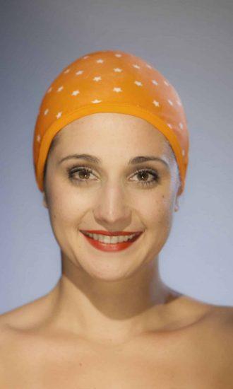 Bonnet de bain Etoiles Orange CARDO Paris piscine maillot de bain déperlant joli élégant confortable français