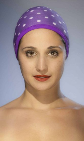The dots purple Swimming cap CARDO Paris swimming pool beach water-repellent french pretty comfy elegant french