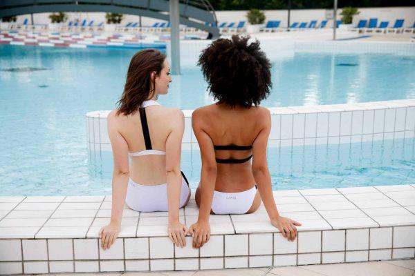 Maillot de bain RIKIKI Bandeau culotte blanche CARDO Paris piscine swimwear joli élégant confortable français